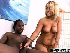 Blonde jerking a big black...